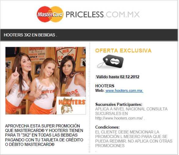 Hooters: 3x2 en bebidas pagando con MasterCard.