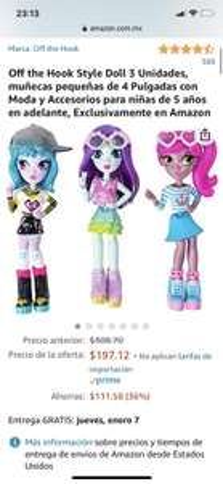 Amazon: Off the Hook Style Doll 3 Unidades, muñecas pequeñas de 4 Pulgadas con Moda y Accesorios para niñas de 5 años