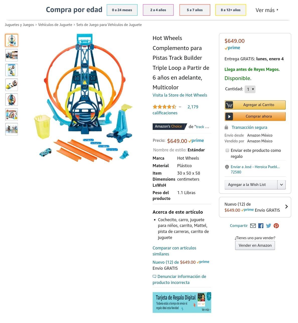 AMAZON - Hot wheels Pista 3 loops