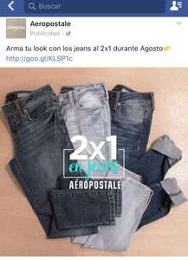 Aeropostale: 2x1 en jeans durante agosto