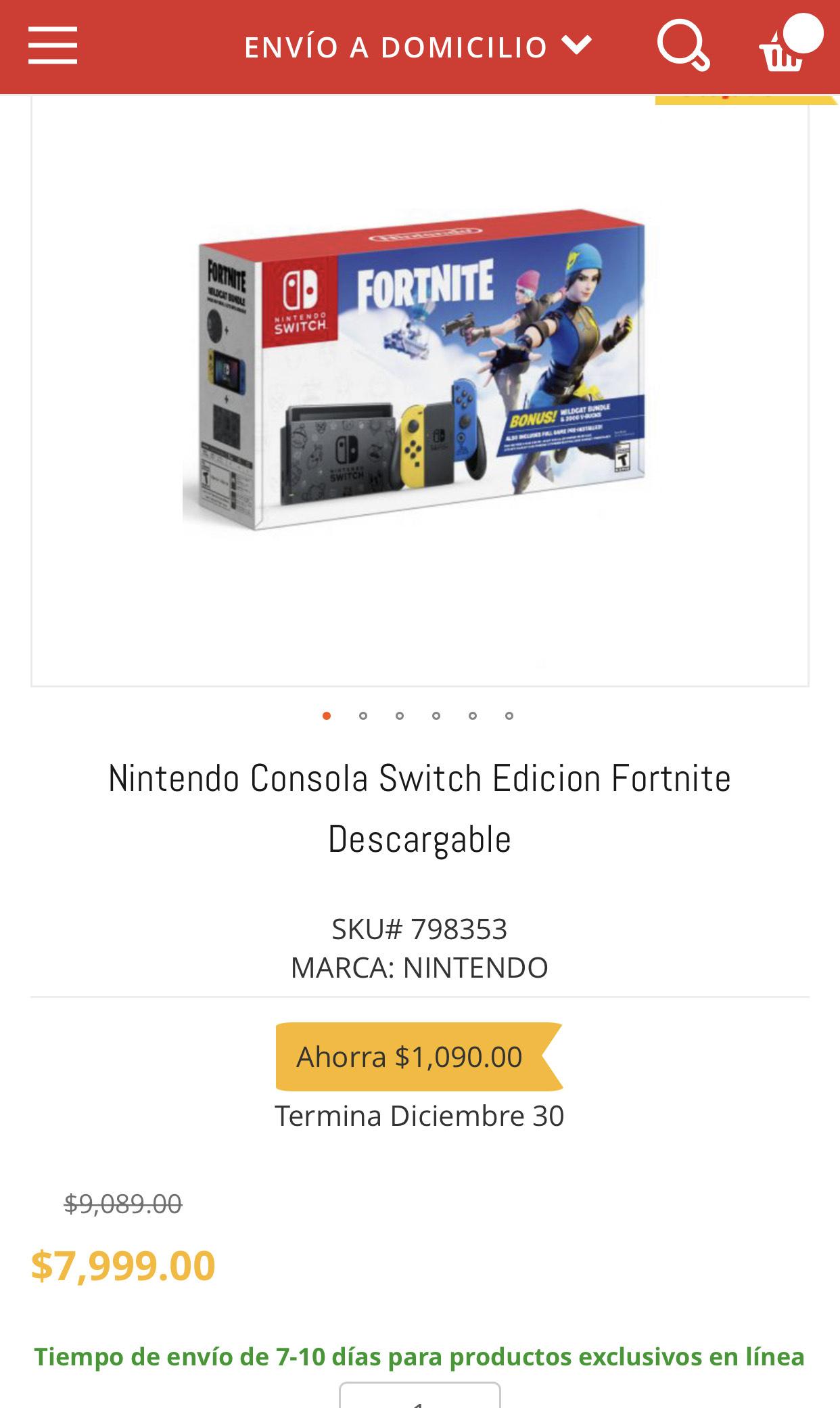 HEB: Nintendo switch edicion fortnite + 10% citibanamex