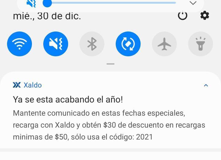Xaldo: $30 de descuento en recargas mínimas de $50