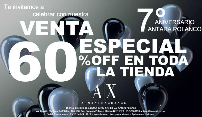 Armani Exchange Antara: aniversario 60% de descuento en toda la tienda