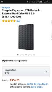 Amazon: Disco Duro externo 1Tb Seagate