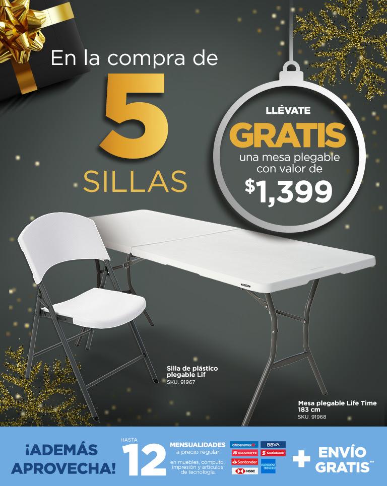 OfficeMax: 5 sillas Lifetime, por 2,995, y gratis un tablón de 1.83
