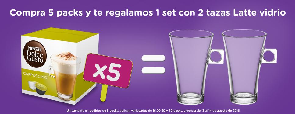 Dolce Gusto en línea: compra 5 cajas y GRATIS Set de 2 Tazas Latte y PROMOCIONES disponibles