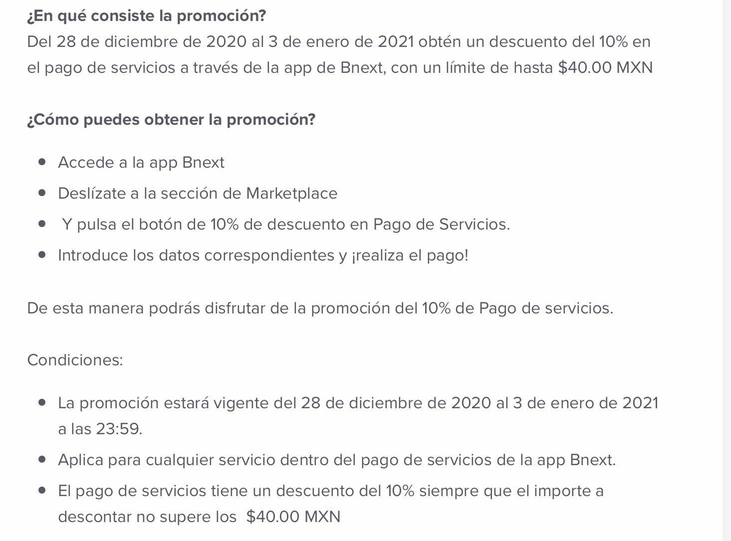 10% pago de servicios con Bnext