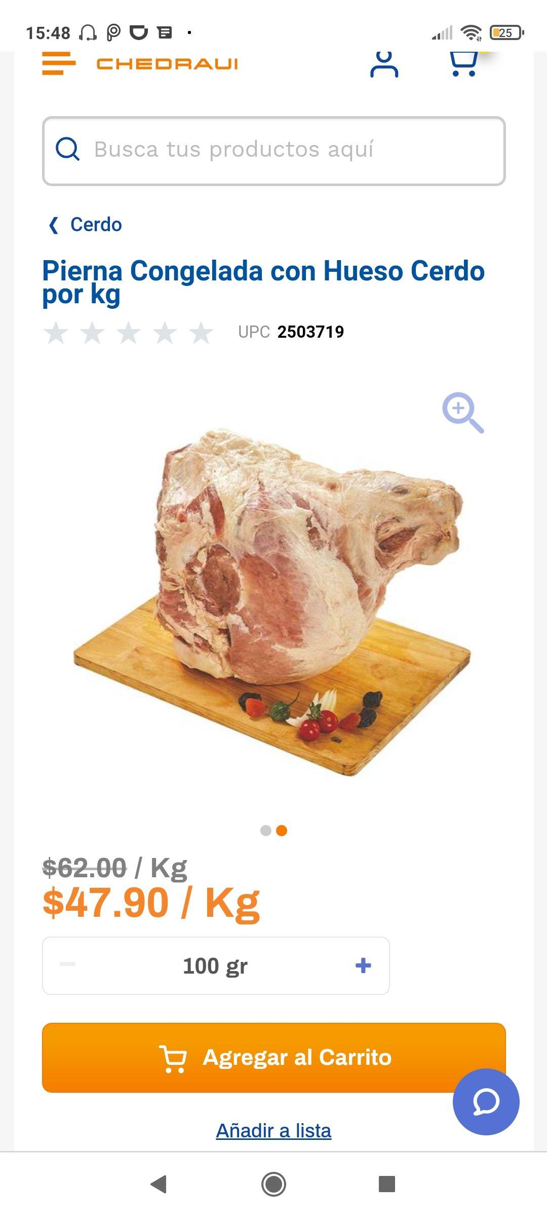 Chedraui Pierna Congelada con Hueso Cerdo por kg