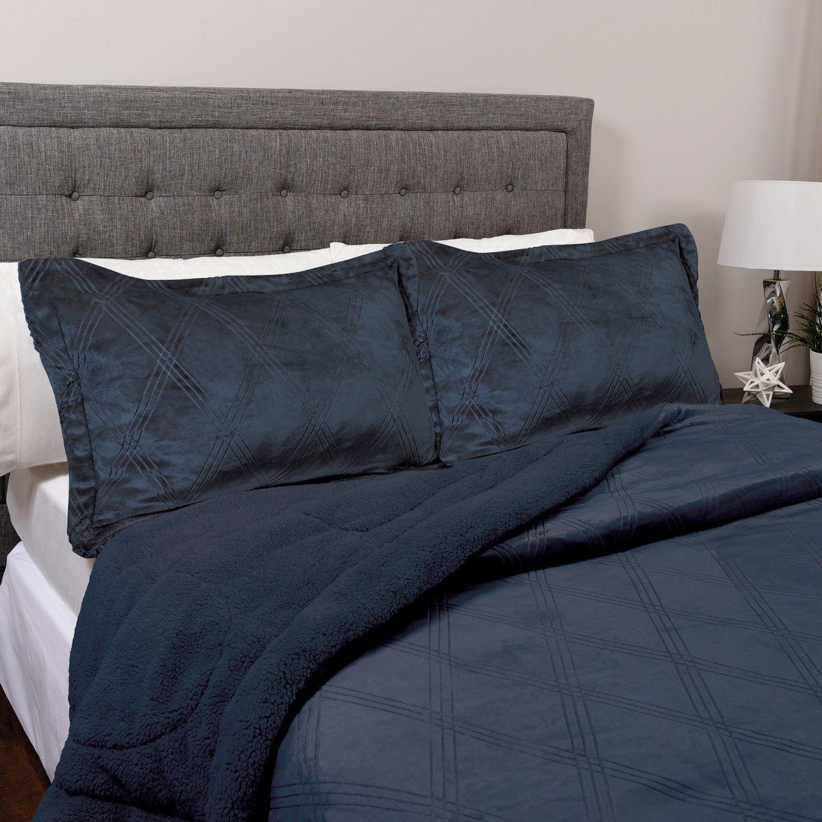 Costco: Life Comfort, Ropa de Cama Reversible Aterciopelado King Size, 3 Piezas