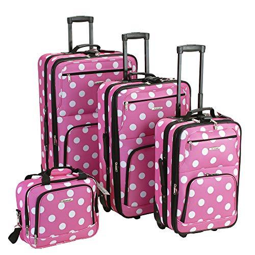 Amazon: Set de 4 maletas de viaje expandible - rosa con puntos blancos