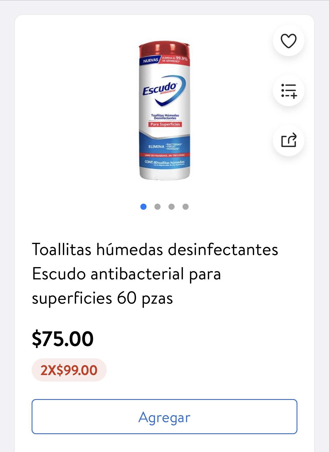 Walmart Toallitas húmedas desinfectantes Escudo antibacterial para superficies 60 pzas
