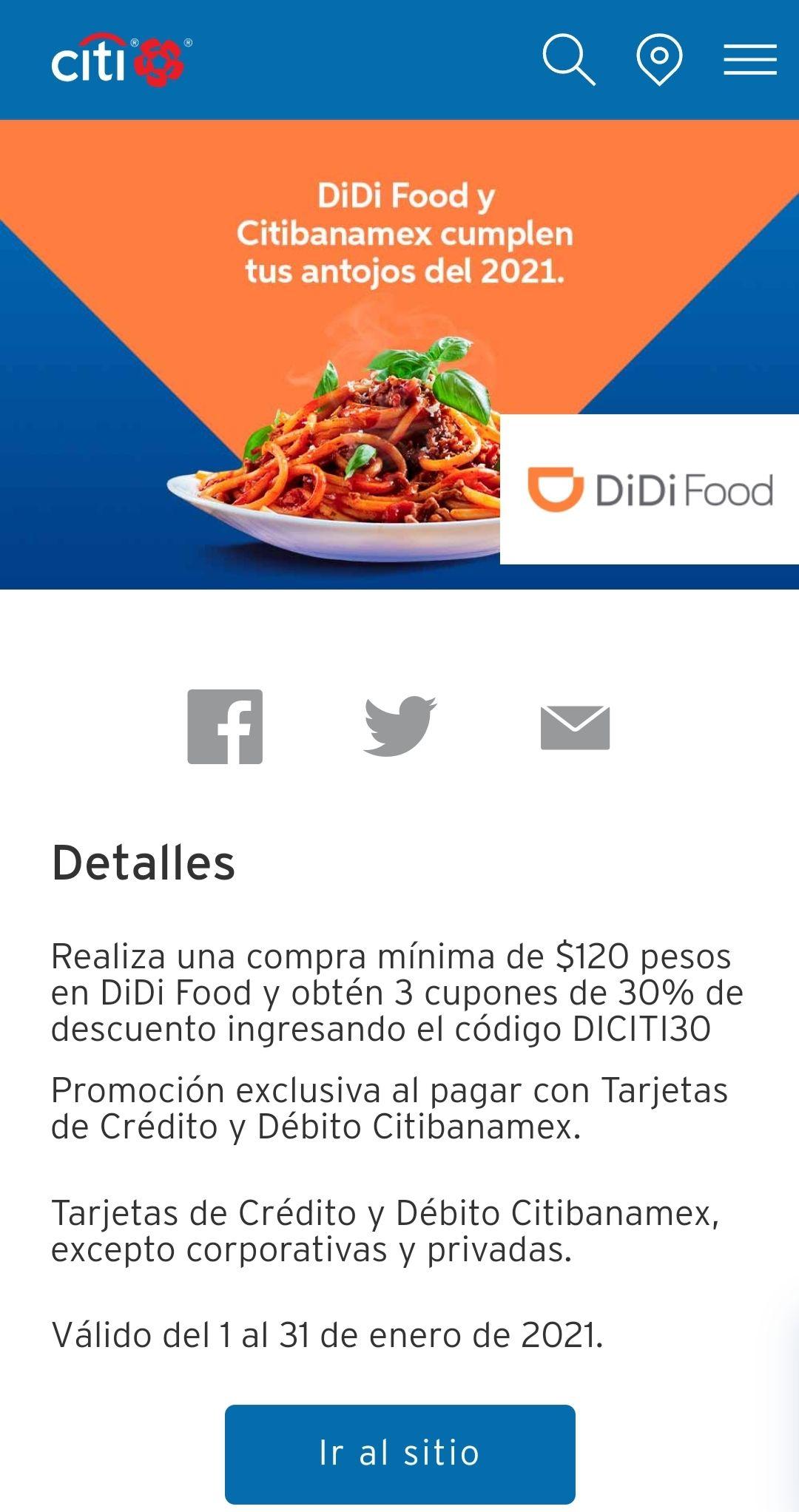 Didi food: cupón 30% descuento con Citibanamex