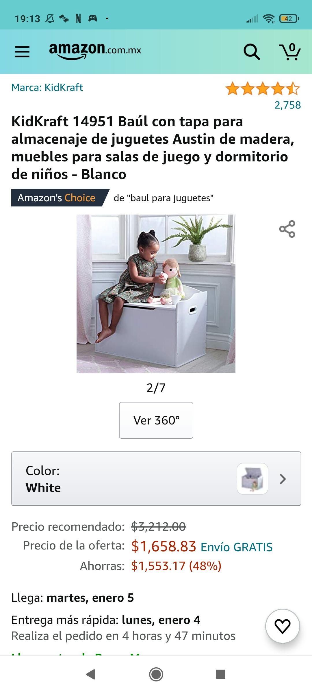 Amazon KidKraft 14951 Baúl con tapa para almacenaje de juguetes Austin de madera, muebles para salas de juego y dormitorio de niños - Blanco