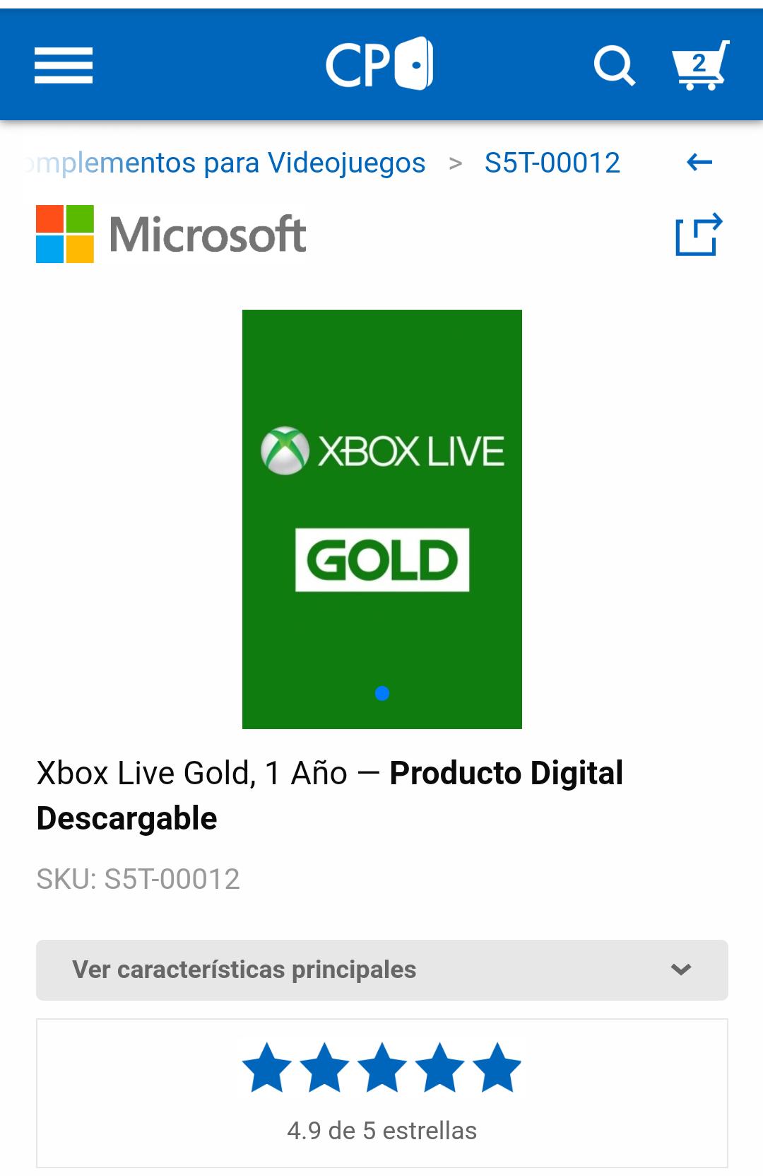 Cyberpuerta: Xbox Live Gold, 1 Año ― Producto Digital Descargable