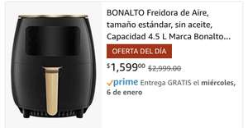 Amazon: Freidora de Aire BONALTO 4.5 L