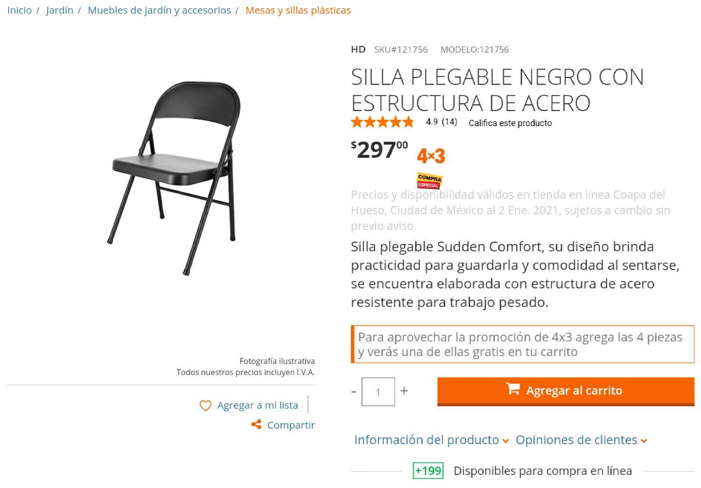 Home Depot, 4 SILLAS PLEGABLE NEGRO CON ESTRUCTURA DE ACERO
