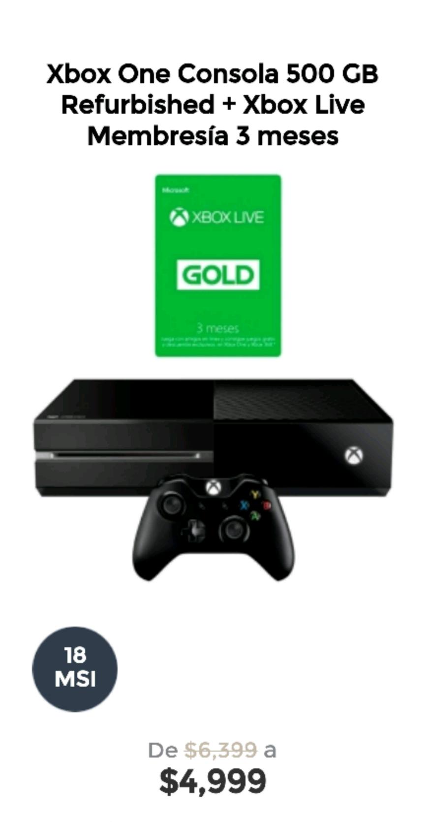 Elektra en línea:  Xbox One 500 GB Refurbished + Xbox Live Membresía 3 meses a $4,999