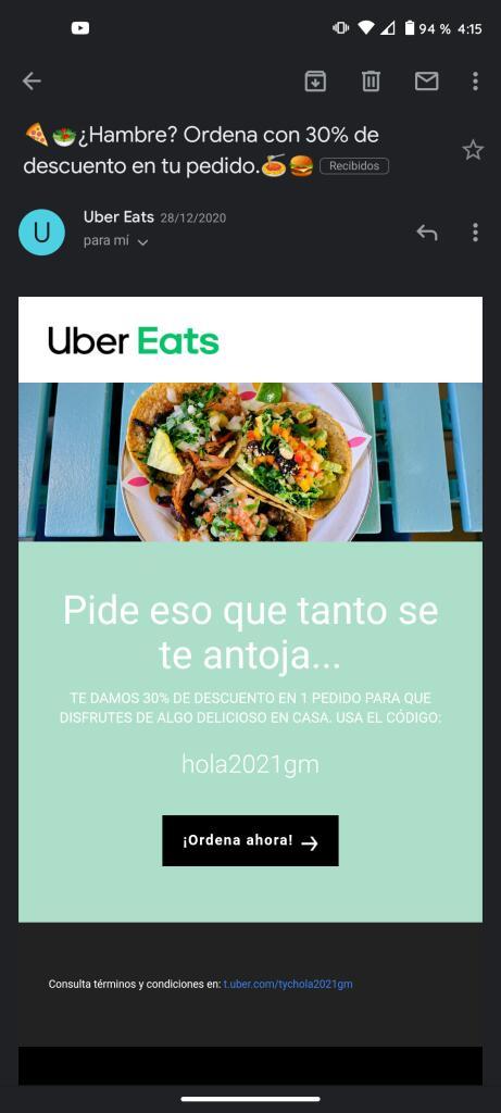 Uber Eats: -30 de descuento