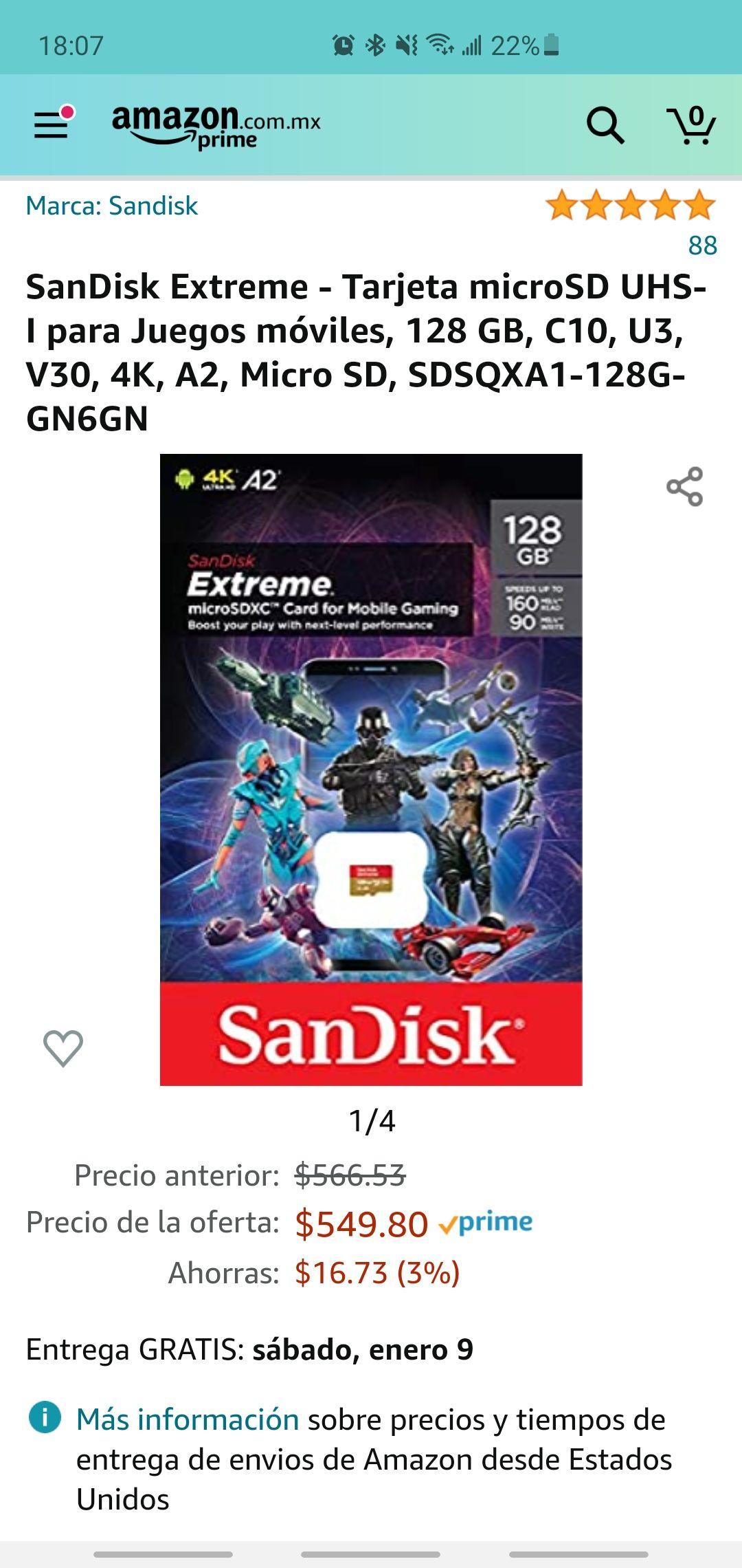Amazon: Tarjeta microSD UHS-I para Juegos móviles, 128 GB, C10, U3, V30, 4K, A2, Micro SD, SDSQXA1-128G-GN6GN