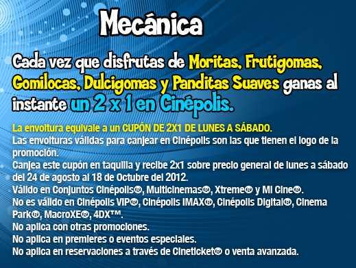 Cinépolis: 2x1 con envoltura de gomitas Ricolino (promoción extendida)