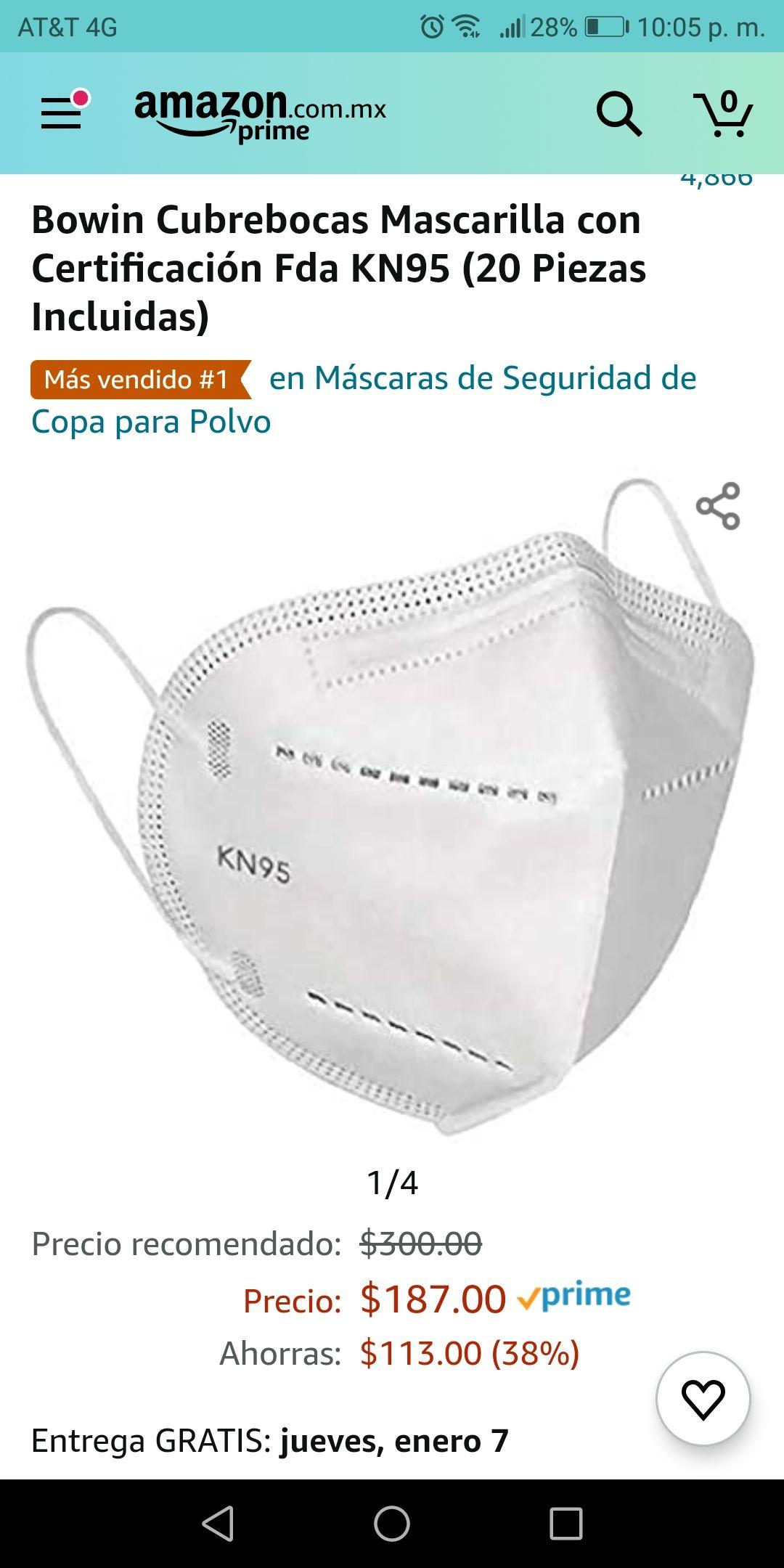 Amazon: Cubrebocas Mascarilla con Certificación Fda KN95 (20 Piezas Incluidas)