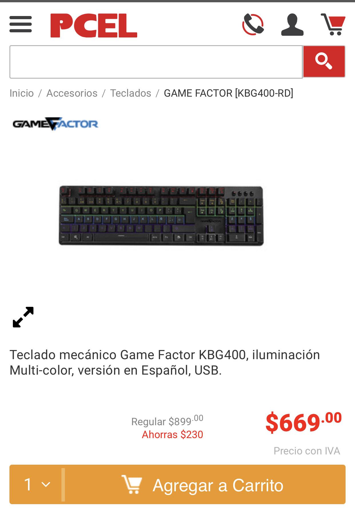 PCEL: Teclado mecánico Game Factor KBG400, iluminación Multi-color, versión en Español, USB.