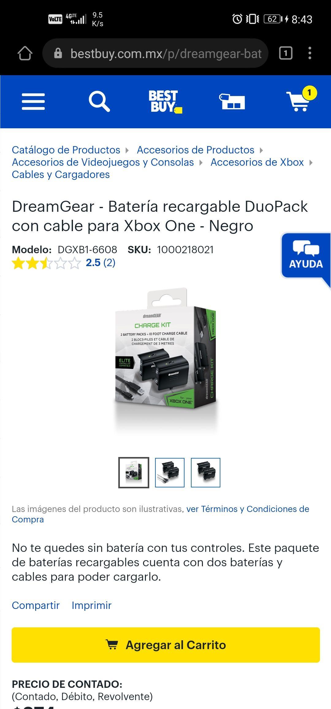 Best Buy: kit carga y juega duo pack para xbox one marca dreamgear