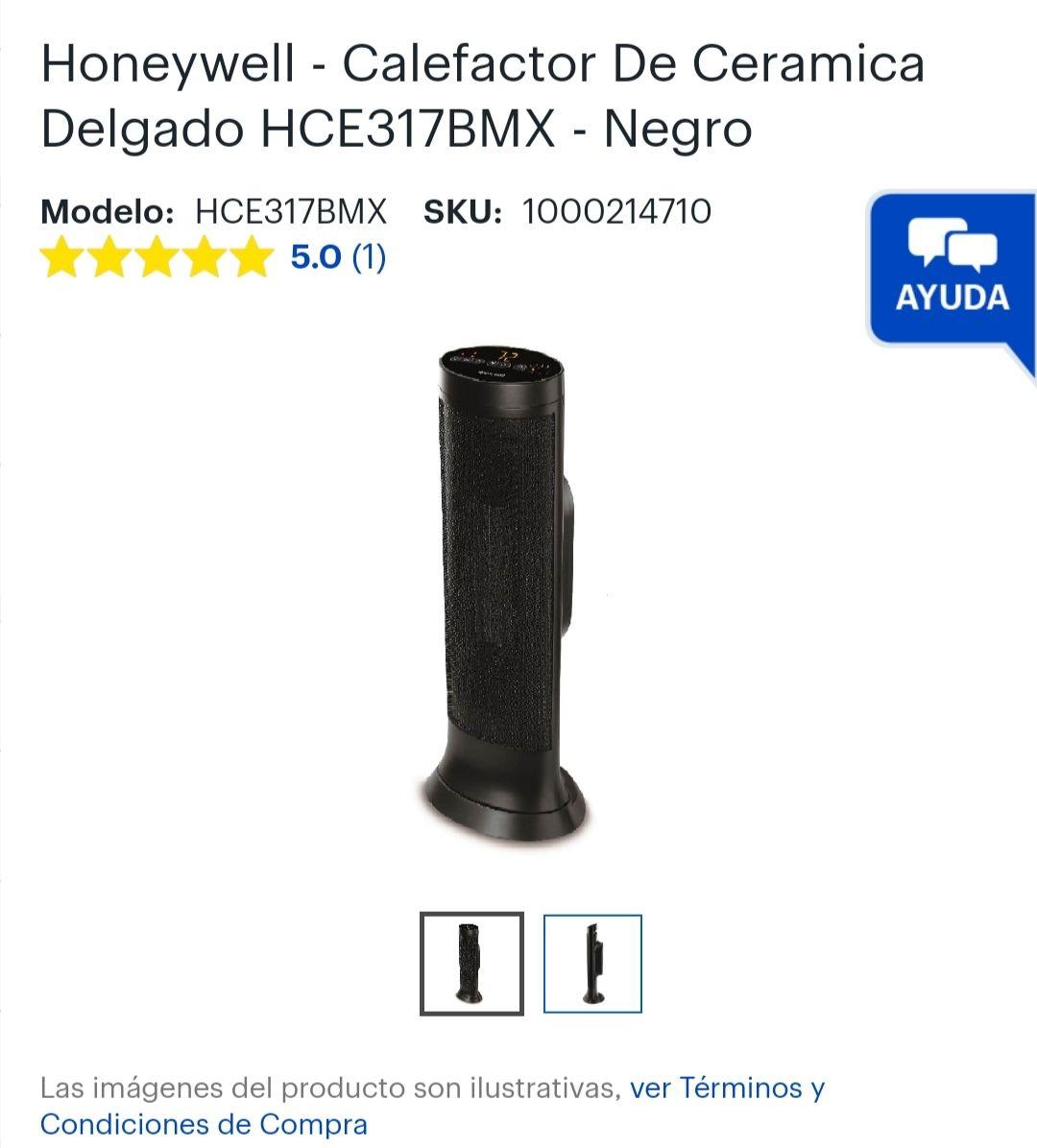 Best Buy: Honeywell - Calefactor De Ceramica Delgado - Negro