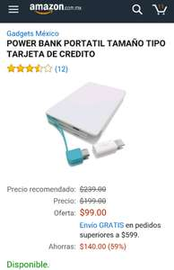 Amazon: POWER BANK PORTATIL TAMAÑO TIPO TARJETA DE CREDITO