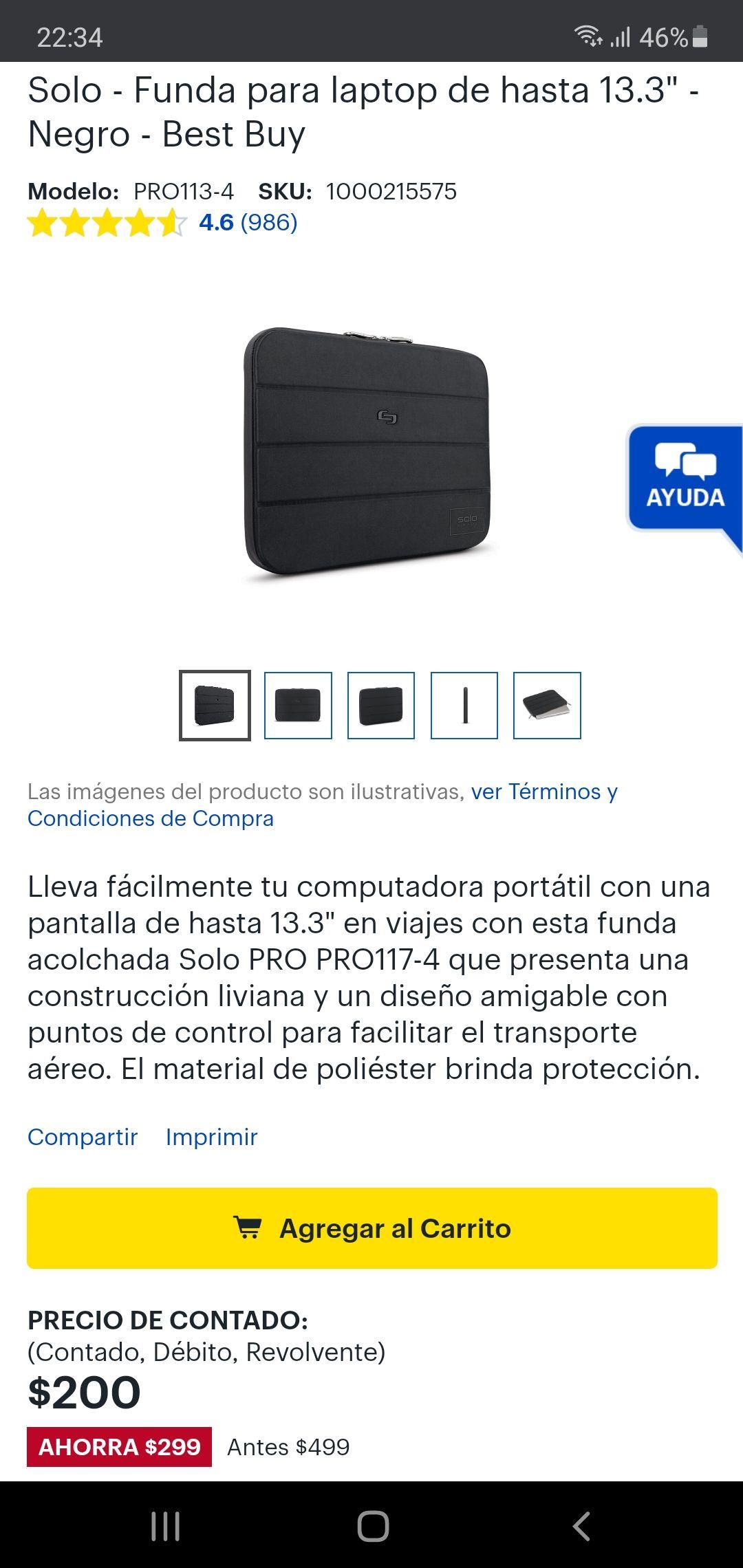 "Best Buy: Solo - Funda para laptop de hasta 13.3"" - Negro"