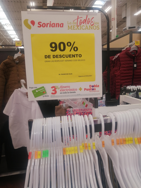 Soriana SLP: Ropa en descuento del 90%