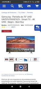 "Samsung - Pantalla de 75"" UHD UN75TU7000FXZX - Smart TV - 4K UHD - Negro - Best Buy"