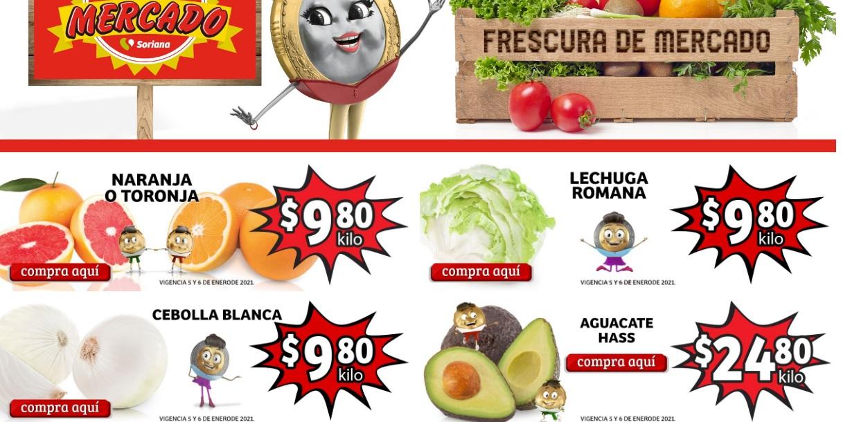 Soriana Mercado y Express: Frescura de Mercado 5 y 6 Enero: Naranja ó Toronja ó Cebolla $9.80 kg... Lechuga $9.80 pza... Aguacate $24.80 kg.