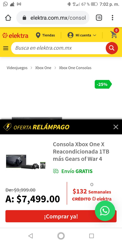 Elektra: Consola Xbox One X Reacondicionada 1TB más Gears of War 4
