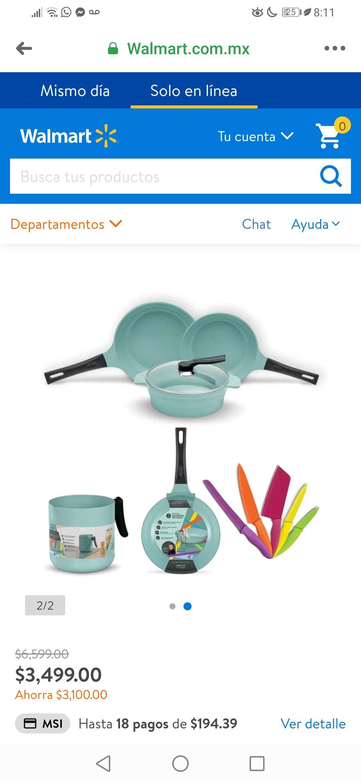 Walmart: Batería de Cocina Jade Cook con Accesorios 11 Piezas