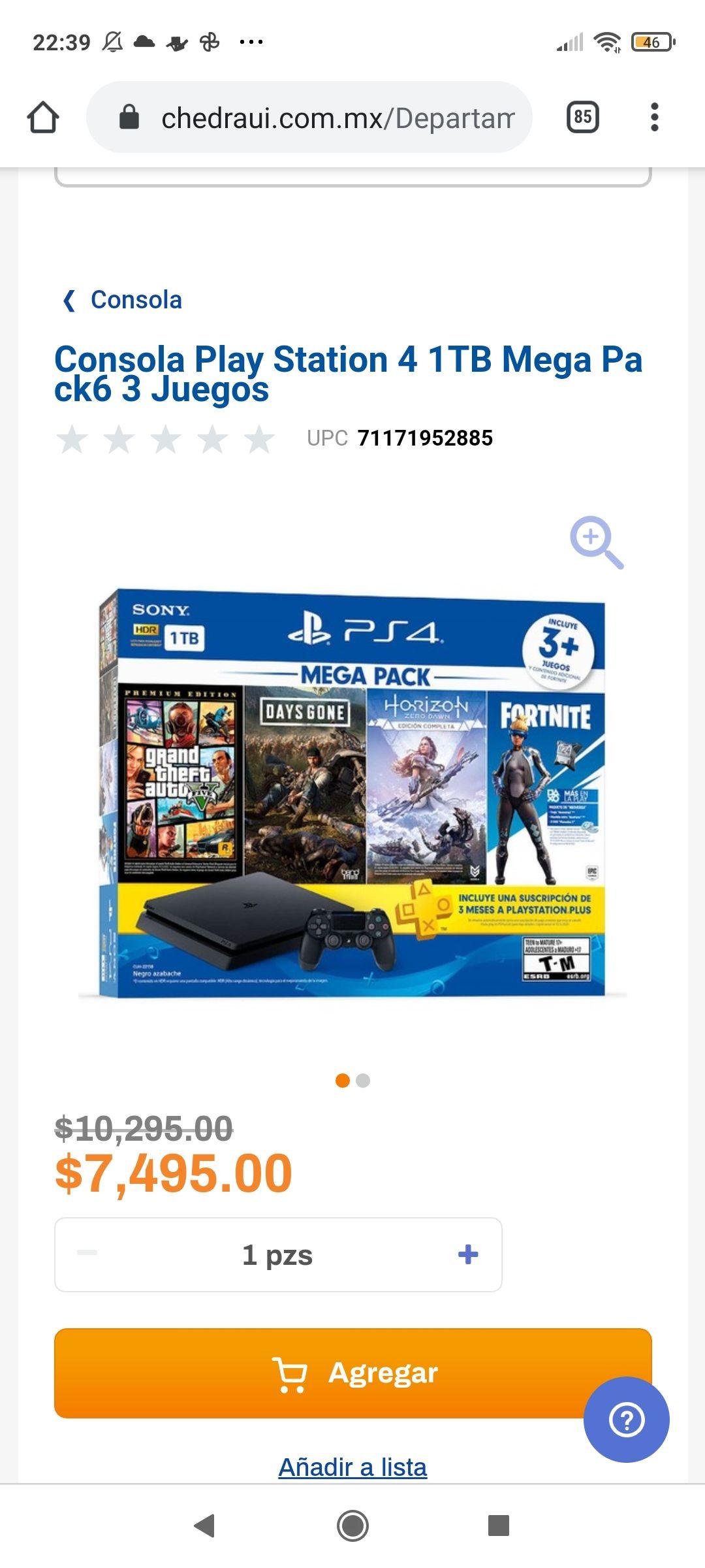 Chedraui: Consola Play Station 4 1TB Mega Pack6 3 Juegos