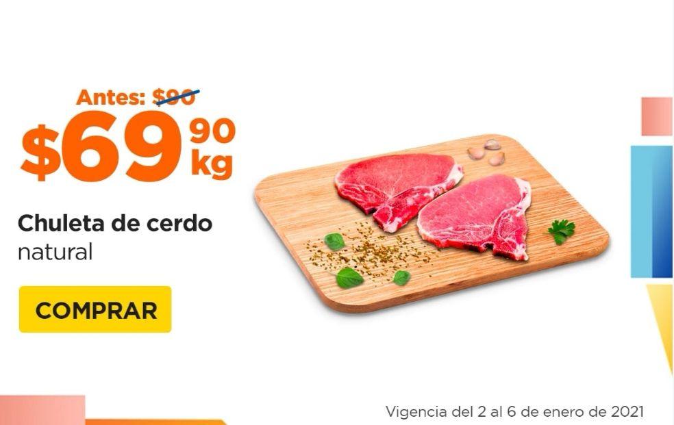 Chedraui: Chuleta de Cerdo Natural $69.90 kg... Lomo de Cerdo $77.90 kg... Costilla de Cerdo $94.90 kg.