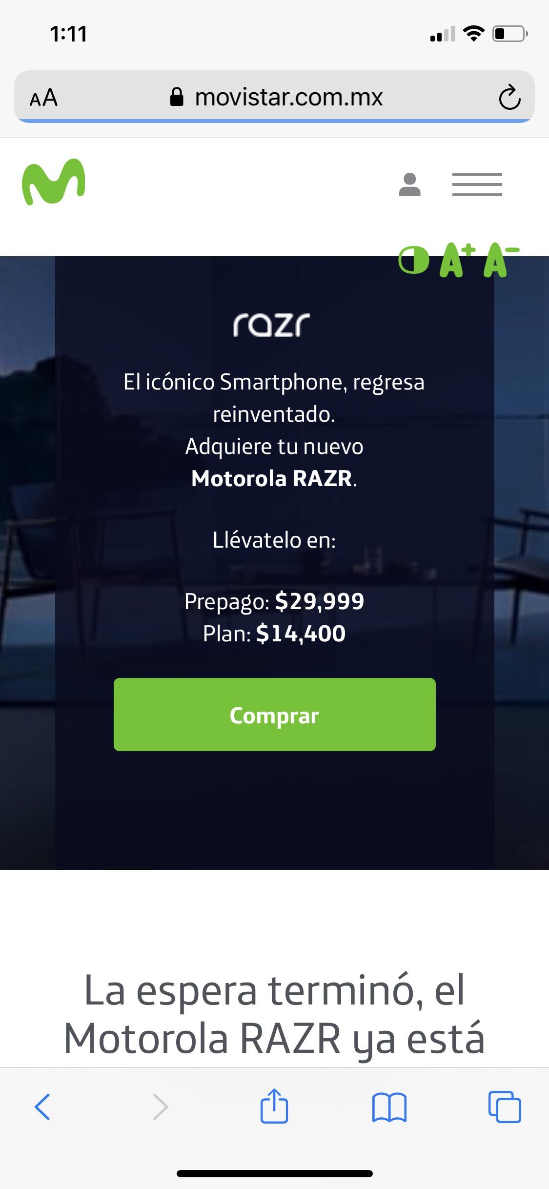 Movistar: Motorola RAZR teléfono plegable a $14,400 al contratar un plan