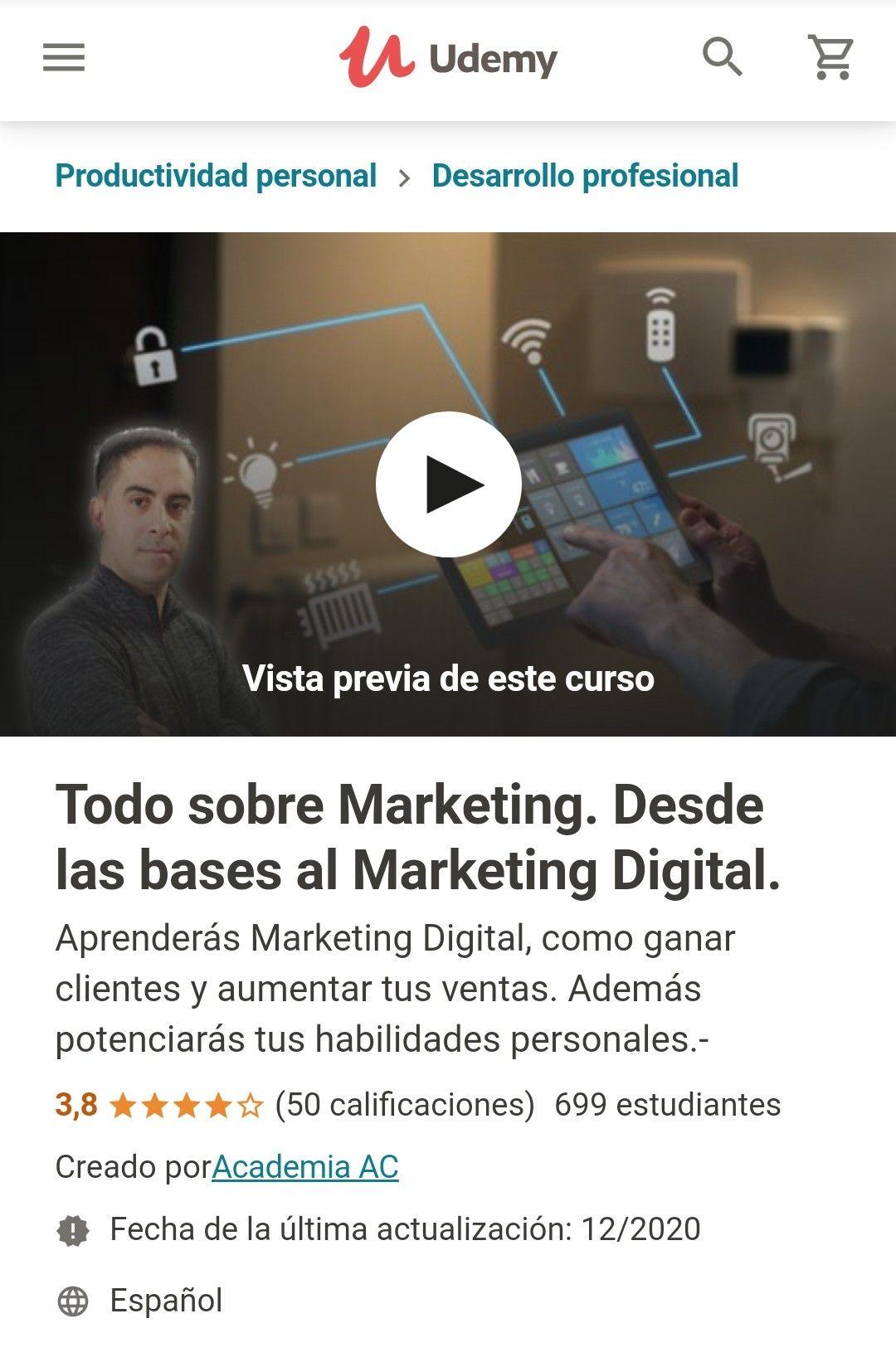 Udemy: Todo sobre Marketing. Desde las bases al Marketing Digital