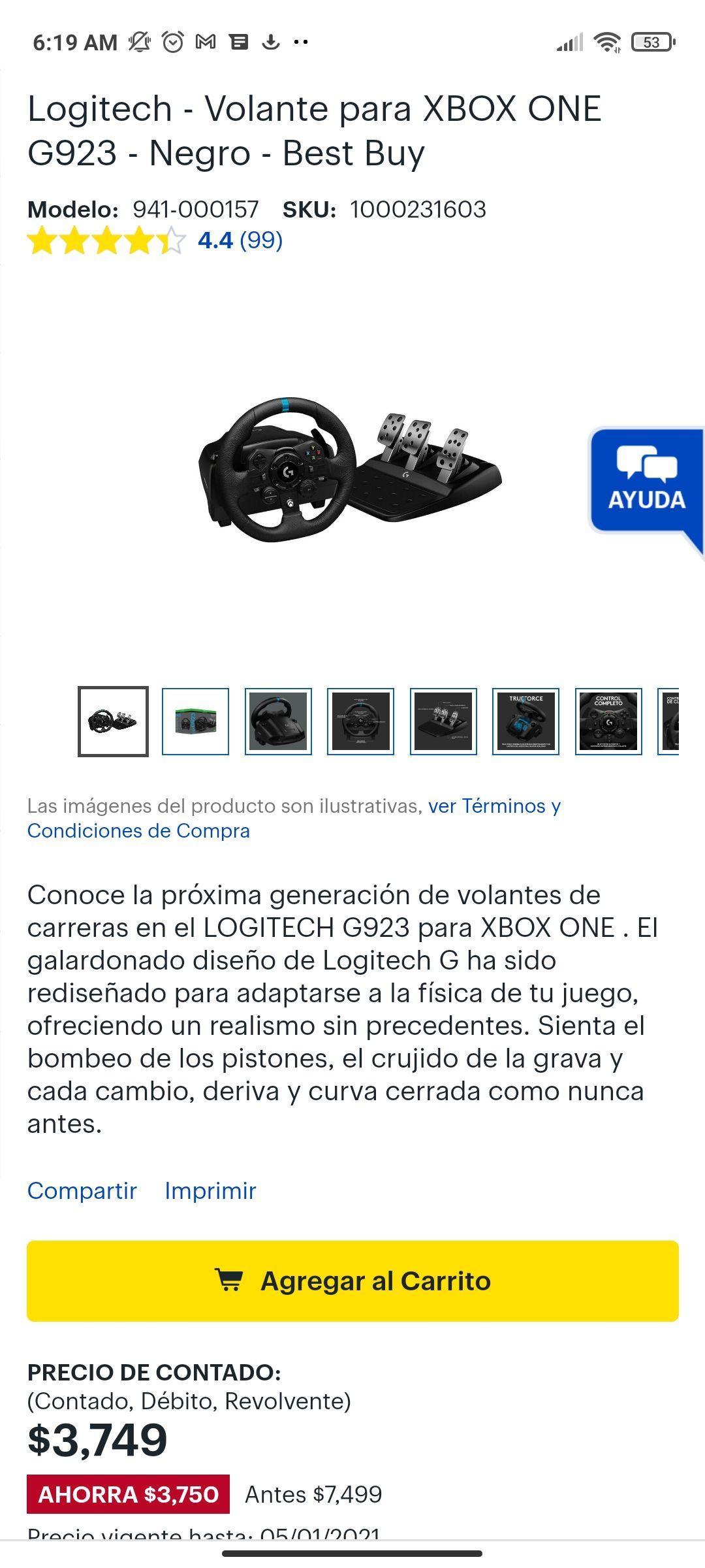 Logitech - Volante para XBOX ONE G923 - Negro - Best Buy