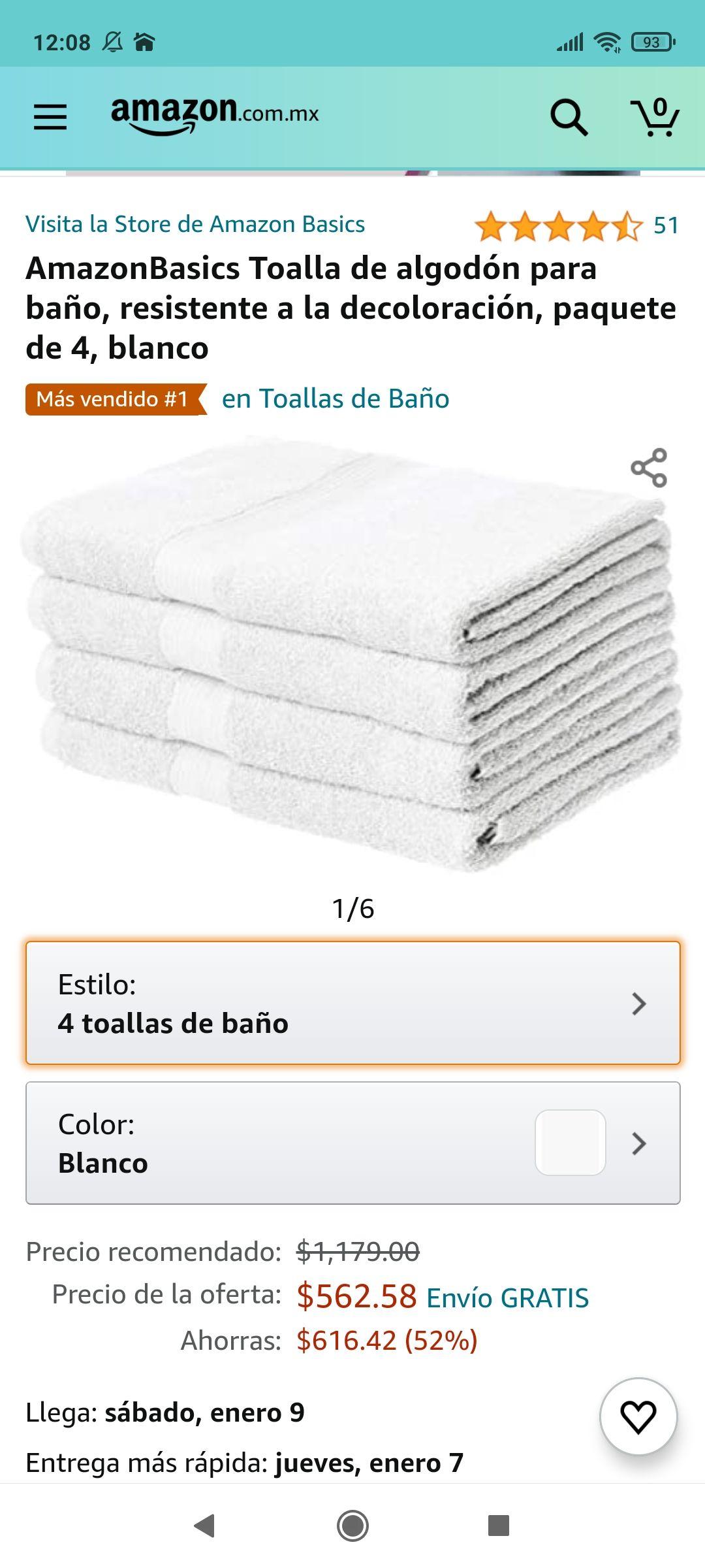 Amazon: AmazonBasics Toalla de algodón para baño, resistente a la decoloración, paquete de 4, negro