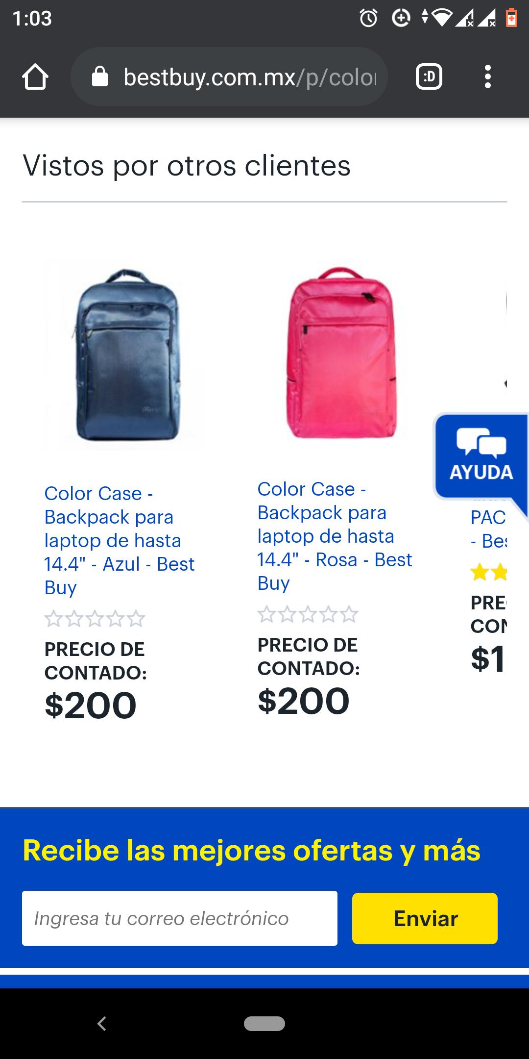 """Best Buy: Color Case - Backpack para laptop de hasta 14.4"""" - Azul - Best Buy"""