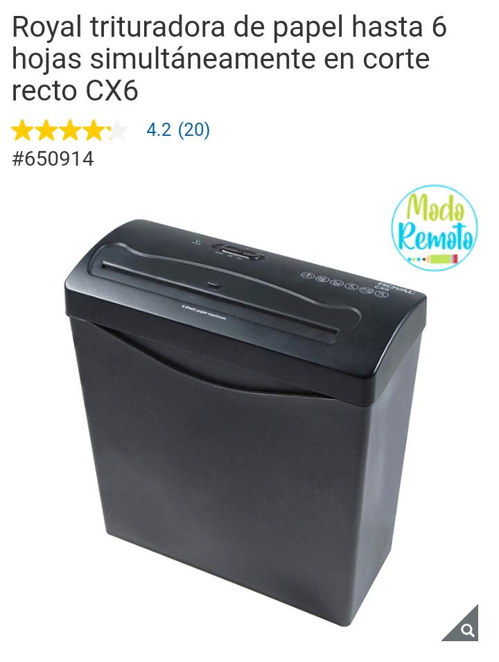 Costco: Royal trituradora de papel hasta 6 hojas simultáneamente en corte recto CX6