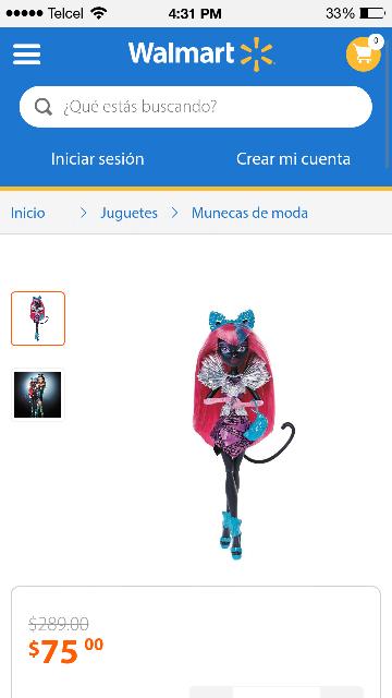 Walmart en línea:  Monster High Catty Noir  a $75