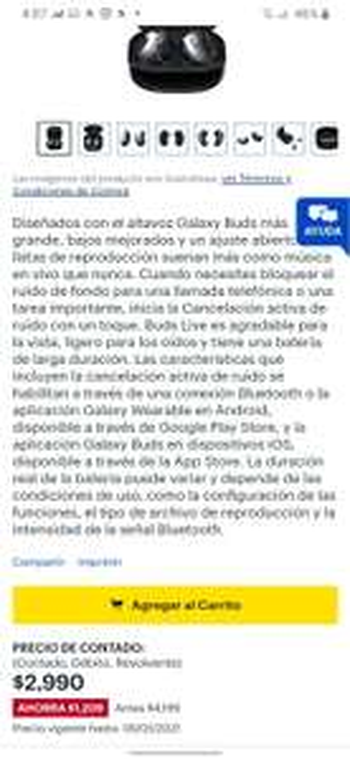 Best Buy: Galaxy buds Live Con Garantía válida en México