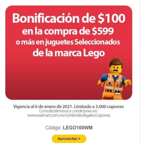 Walmart (Linea) - Bonificación $100 en juguetes Lego y Barbie