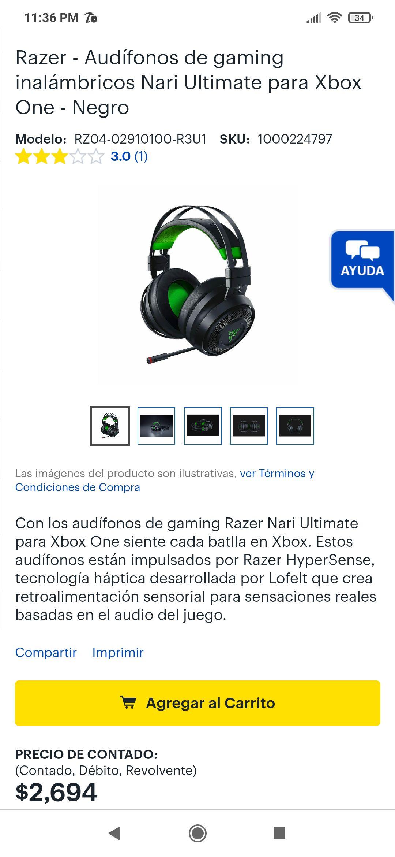 Best Buy: Audífonos gamer Nari Razer ultimate