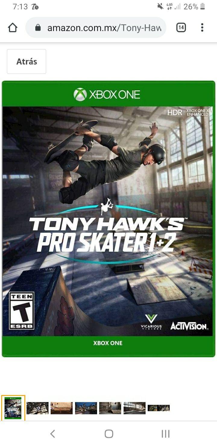 Amazon, Tony Hawk Pro Skater Xbox ONE y Play 4. Aplica PRIME
