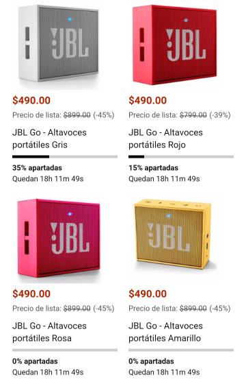 Amazon México: JBL GO Bocinas Bluetooth portátiles varios colores