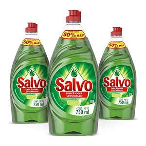 Amazon: Salvo Lavatrastes Liquido Salvo Limon 3 Unidades 750ml, Total 2.3lts, color, 2.3 L con Planea y Ahorra